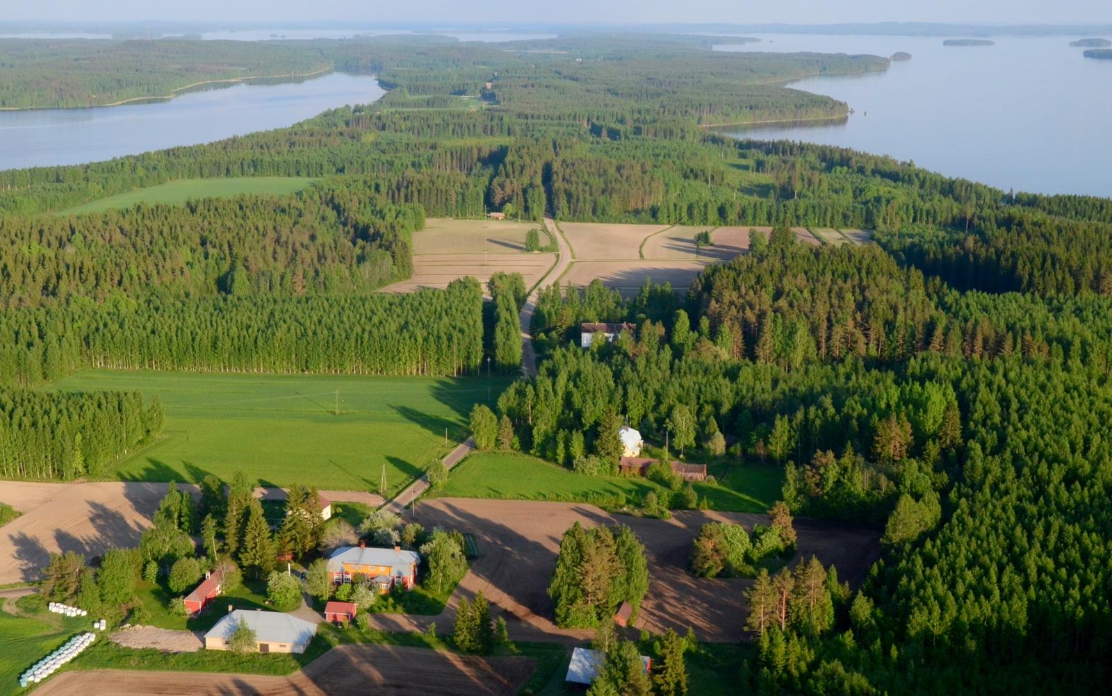 Tästä jatketaan uusista maisemista Vesannon Horonkylältä. Kuvassa Lypsylän tila. Vasemmalla Horonjärvi, oikealla Keitelejärven Kivenkorvanselkä.