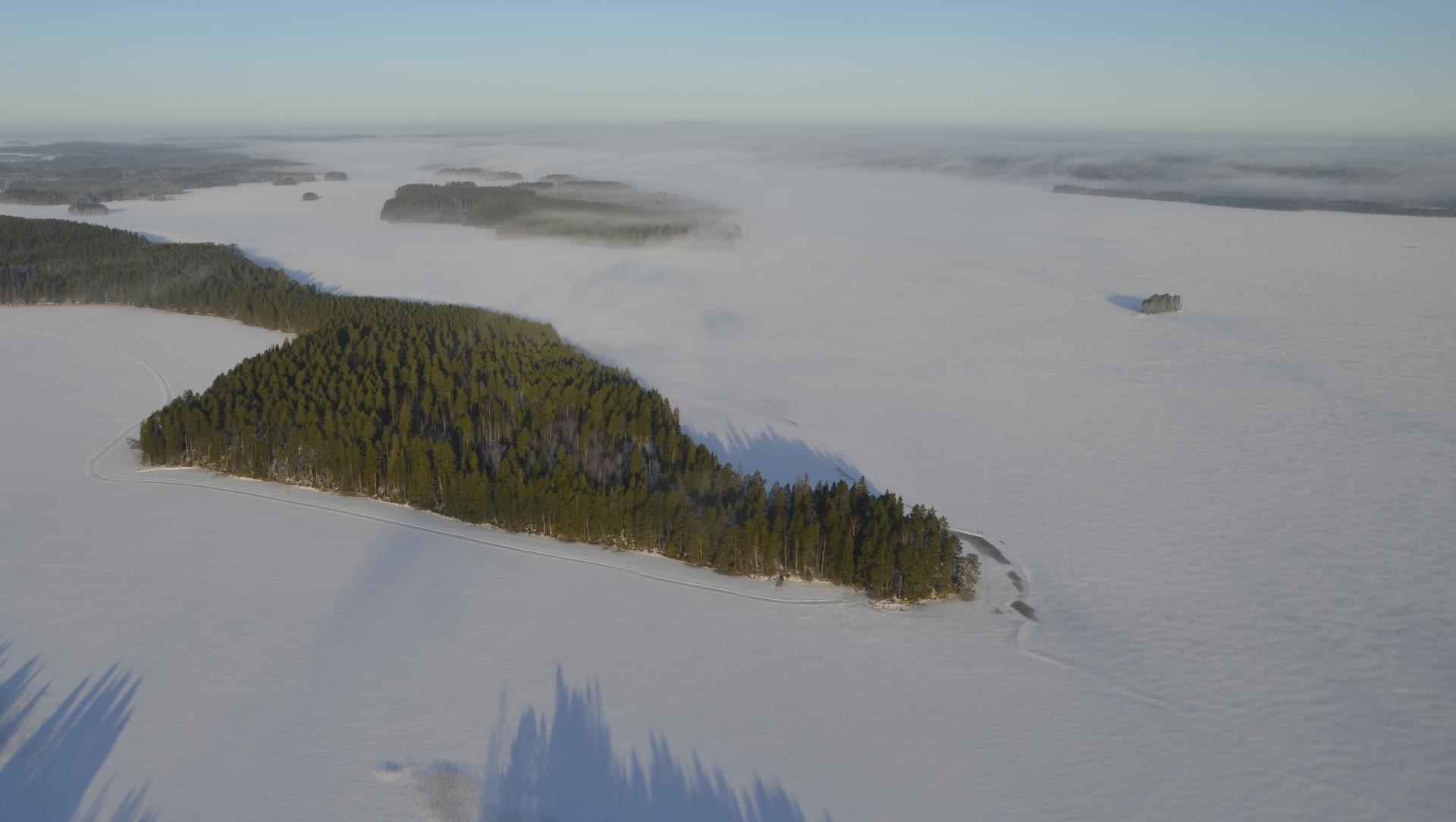 Rakajansaaren kaakkoispää jossa laavu sijaitsee. Taustalla Matoselkä.