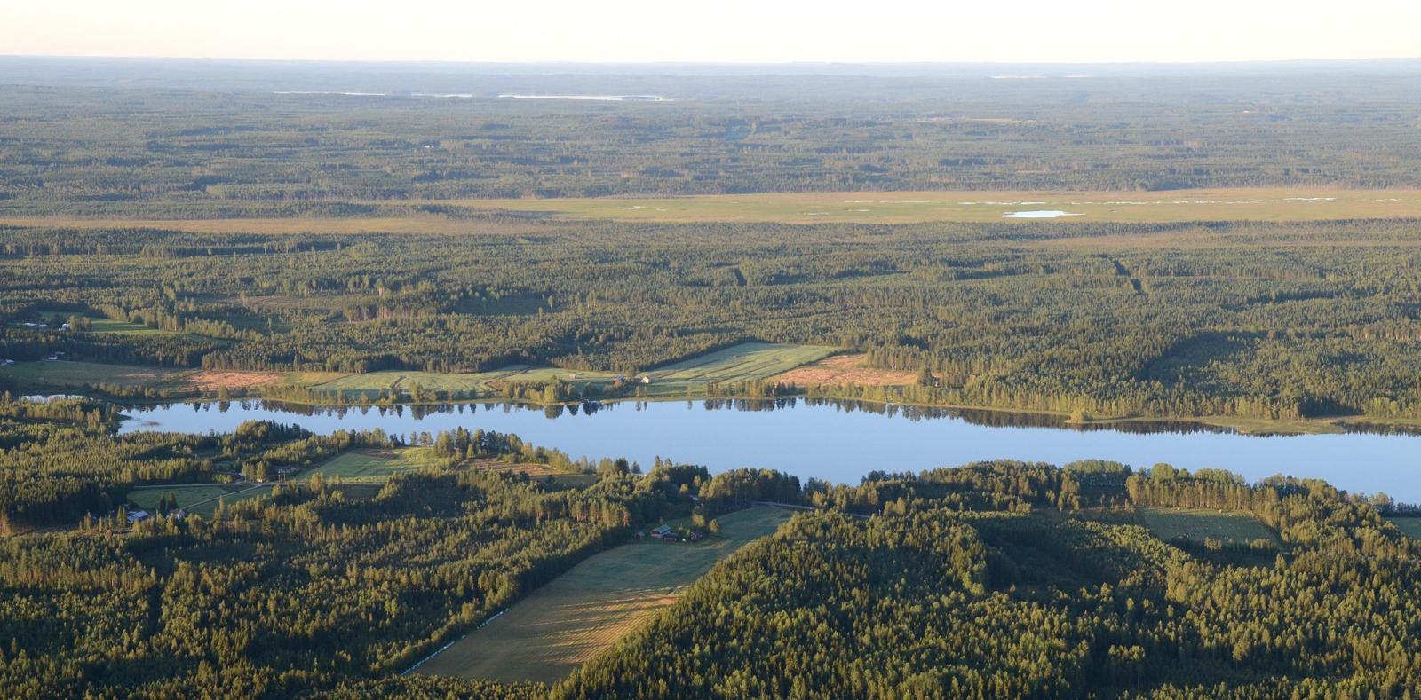 Pieni-Toulatjärvi ja taaempana Heinäsuvannon suo.