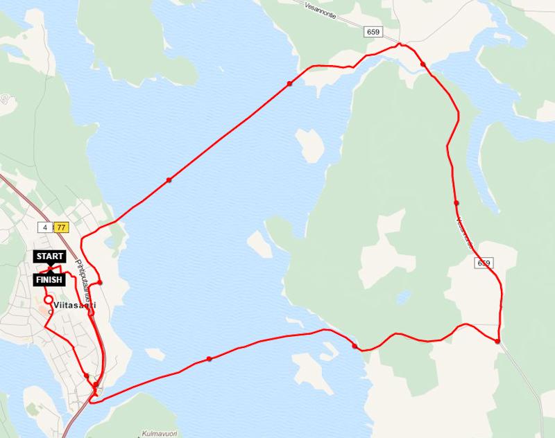"""Talviklassikko """"Tour de Jäätiet"""" Petri Kuntsin Sports Tracker jälkenä. Reittillä ajetaan vapaavalintaiseen suuntaan Kymön ja Permosen jäätiet."""