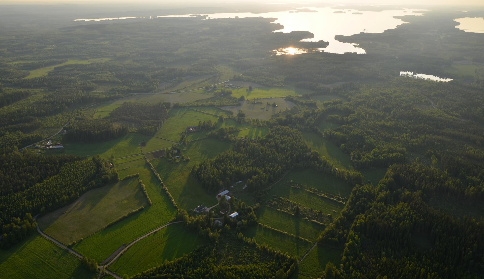 Kannaksen vasemmalla puolella Keitelejärvi ja jossakin tuolla horisontissa Viitasaari