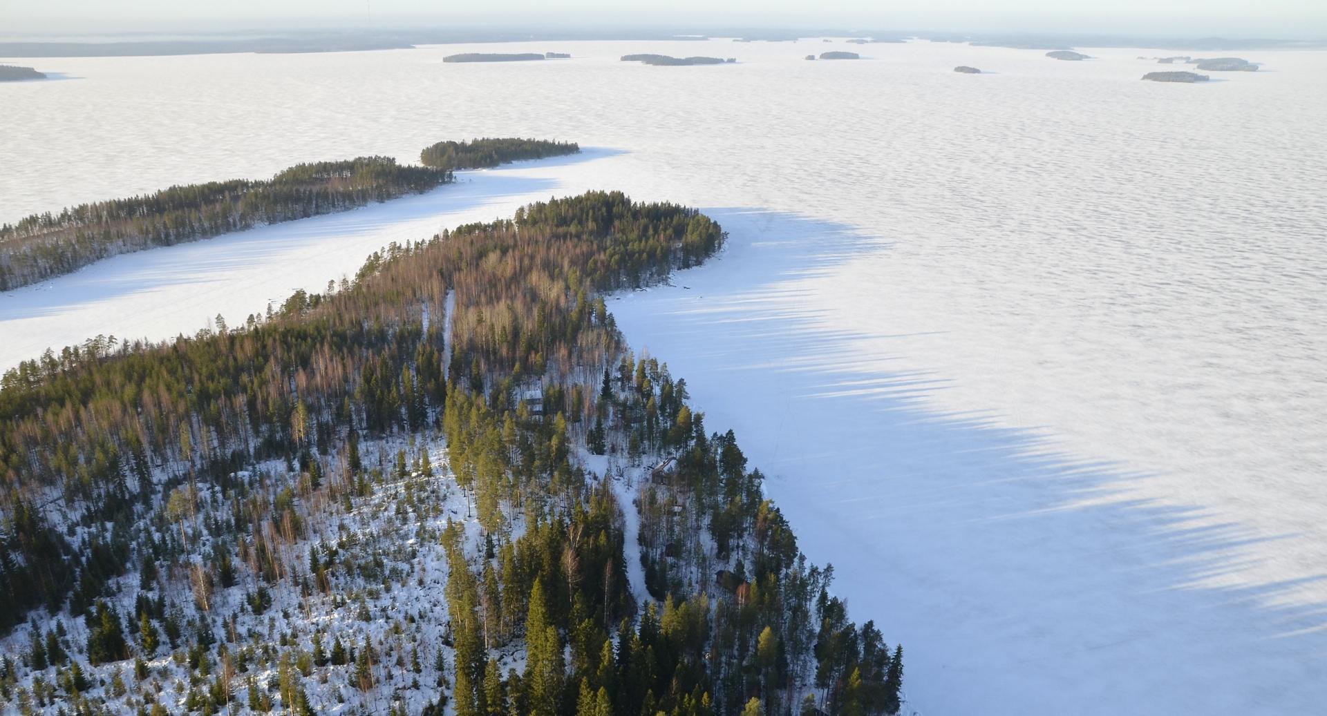 Mustaniemi, Paloniemi ja sen päässä Järkisaari. Kuva otettu juuri Viitasaaren (vasemmalla) ja Pihtiputaan rajan kohdalta. Raja jatkuu suoraan eteenpäin selällä olevaan Suursaareen.
