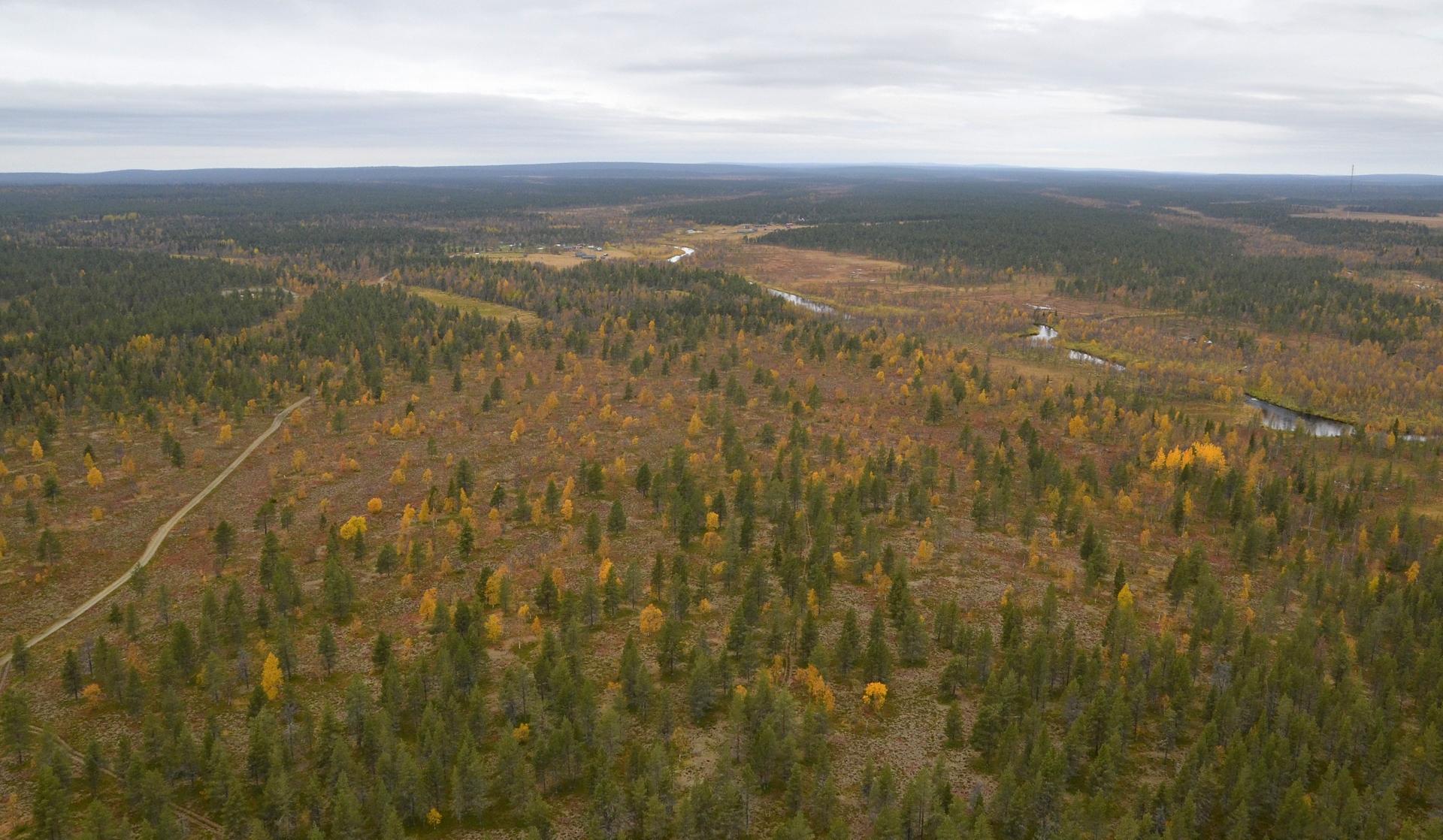 Seuraava lentopaikka oli Pokankylä Inari-Kittilä tien varressa. Täällä otin Hanskin triken kyytiin maisemia katsomaan.