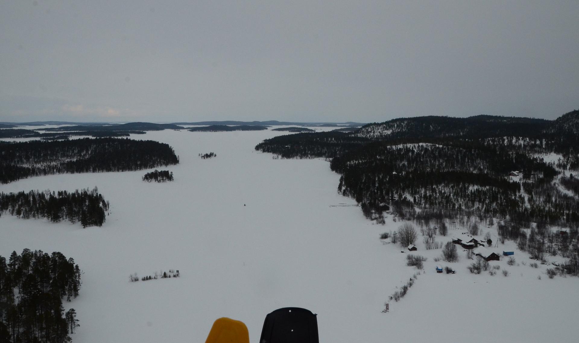 Näkymä Veskoniemestä Sevetin ja Inarijärven suuntaan, siispä suunta tuonne.
