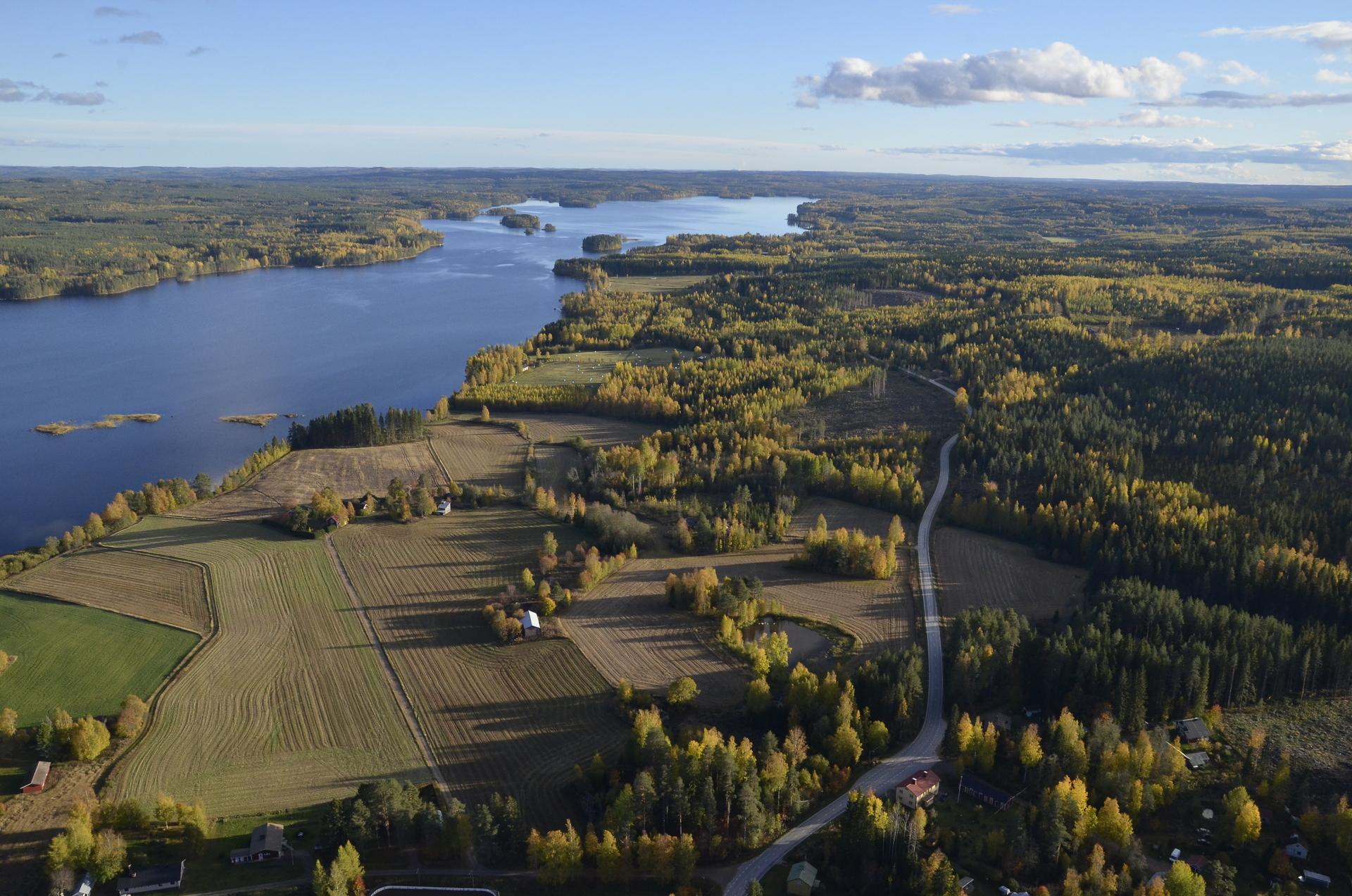 Lanneveden rantuutta seurailevaa tietä pääsee Uuraisille tuonne järven pään ohi.