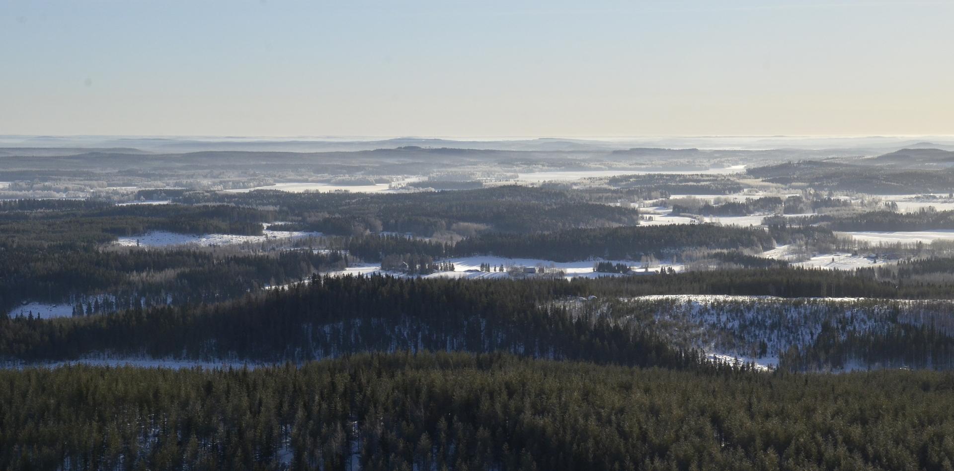 Äänekosken Koiviston lennolla Telkkämäen yli näkyy Valkolankylä ja hieman taaempana oikealla Kuusaa.