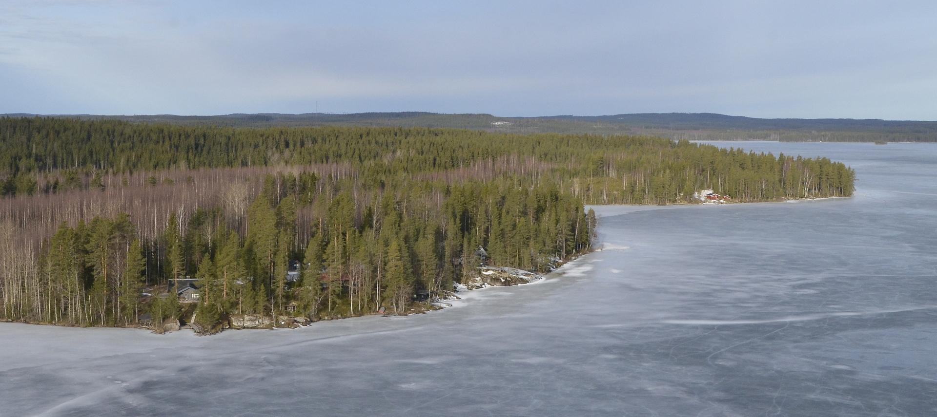 """No, enpä """"hirttäydy"""" väittämääni taulun suhteen, vaan jatkan matkaa Petäjäniemen kuvetta:) Peltolahti lähimmän niemen takana."""