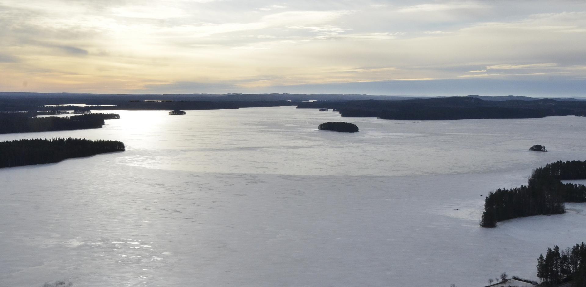 Haapasaari keskellä Räihänselkää Lintulan kohdilta kuvattuna.