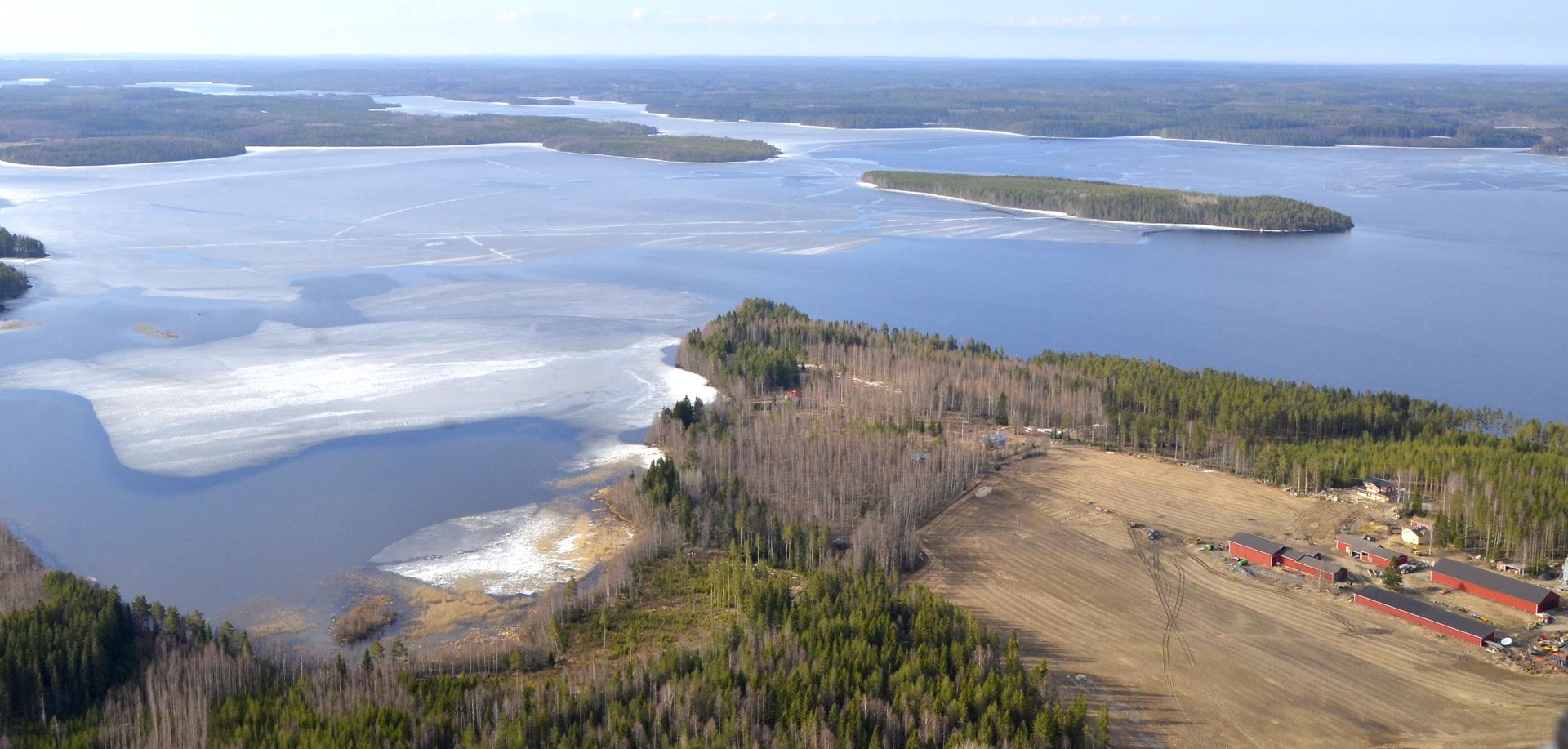 Hoviniemi, saari on Pihkurinsaari. Kuvassa taustalla Hännilänsalmi ja silta.