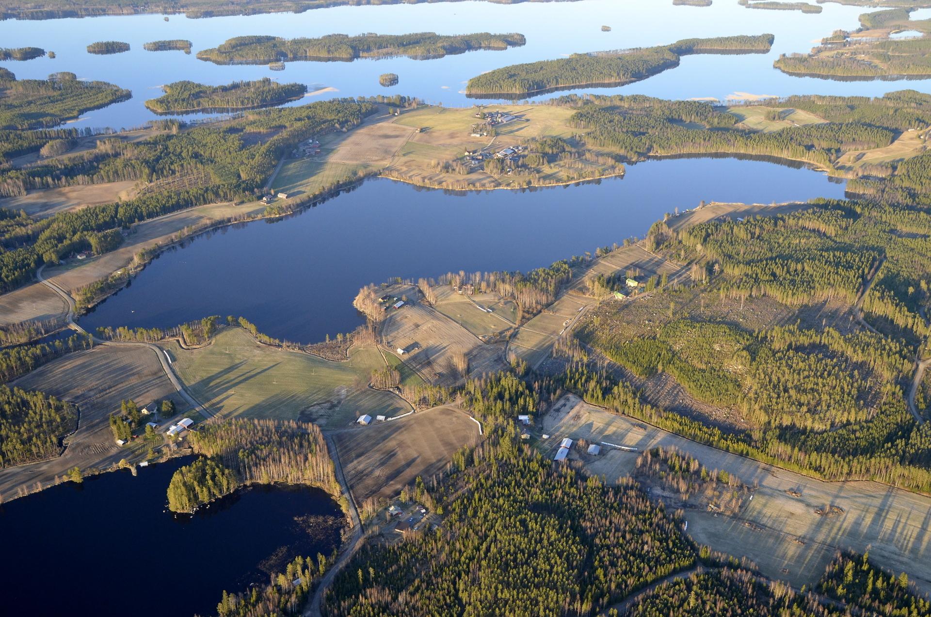 Pasalajärvi keskellä kuvaa ja molemmin puolin Kolimajärvi. 22.5.2020