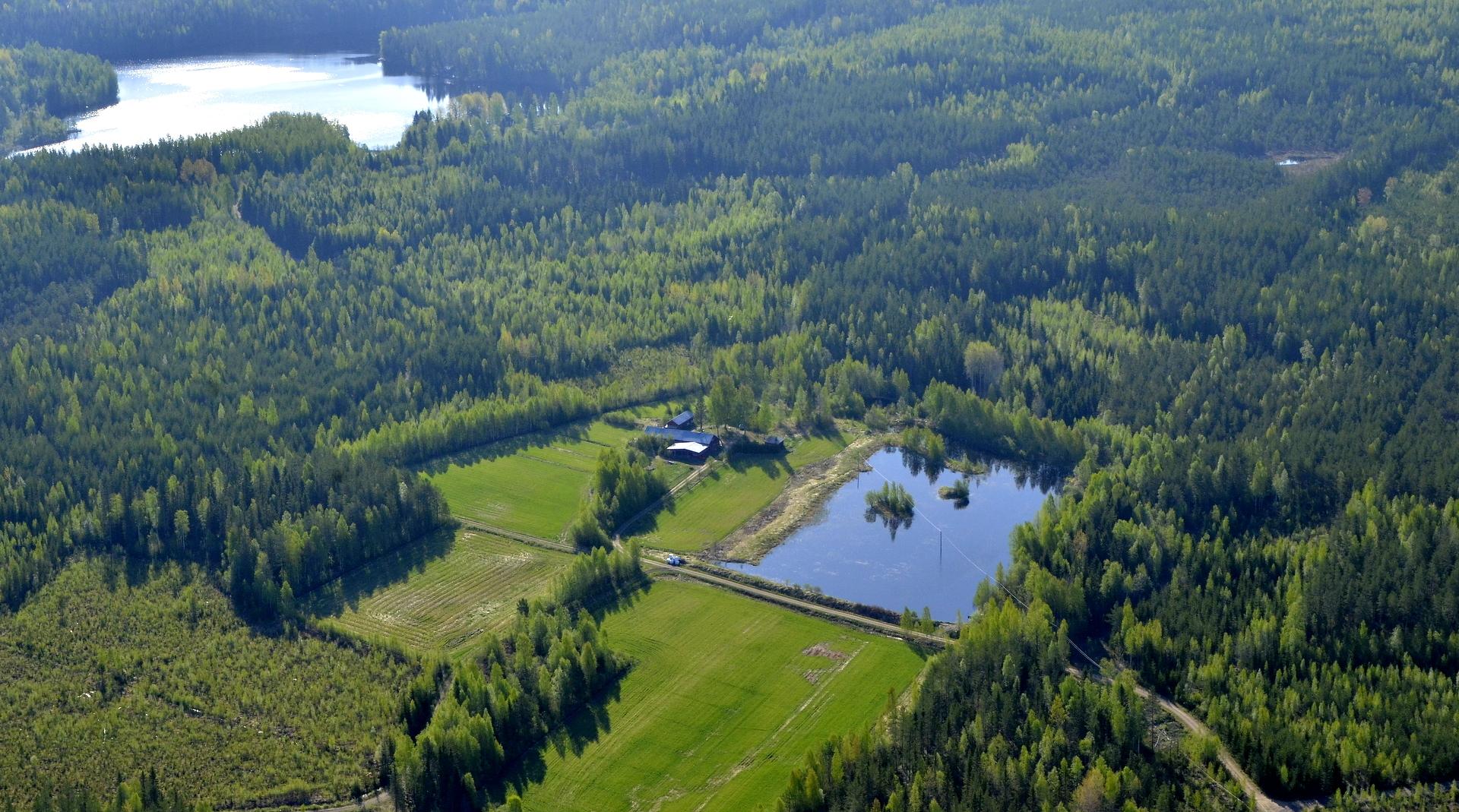 Vasemmalla Rauskajärvi ja oikealla Onnelan lammikko.