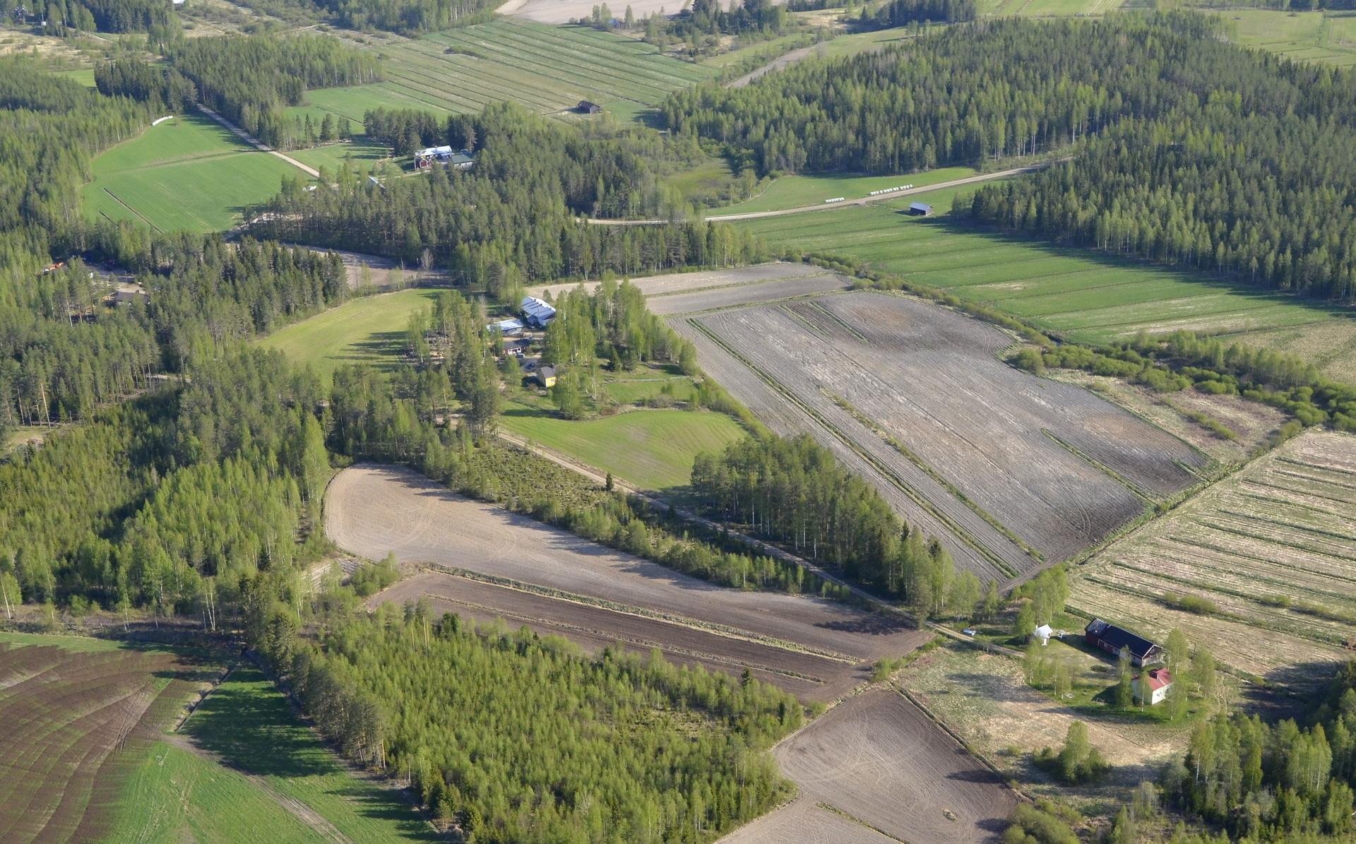 Vasemmalla ylhäällä Pässinmäki, jossa kohden tie haarautuu vasemmalle Viitakankaan Saarijärvelle.