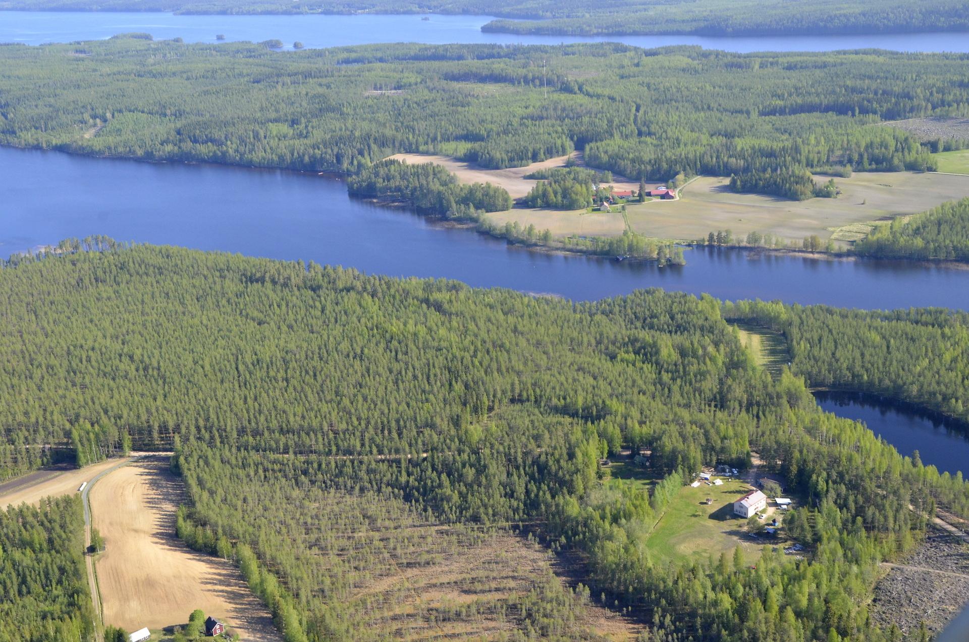 Oikealla alhaalla Kuhalan entinen koulu. Lahden takana Järkiniemeä ja Juusola.