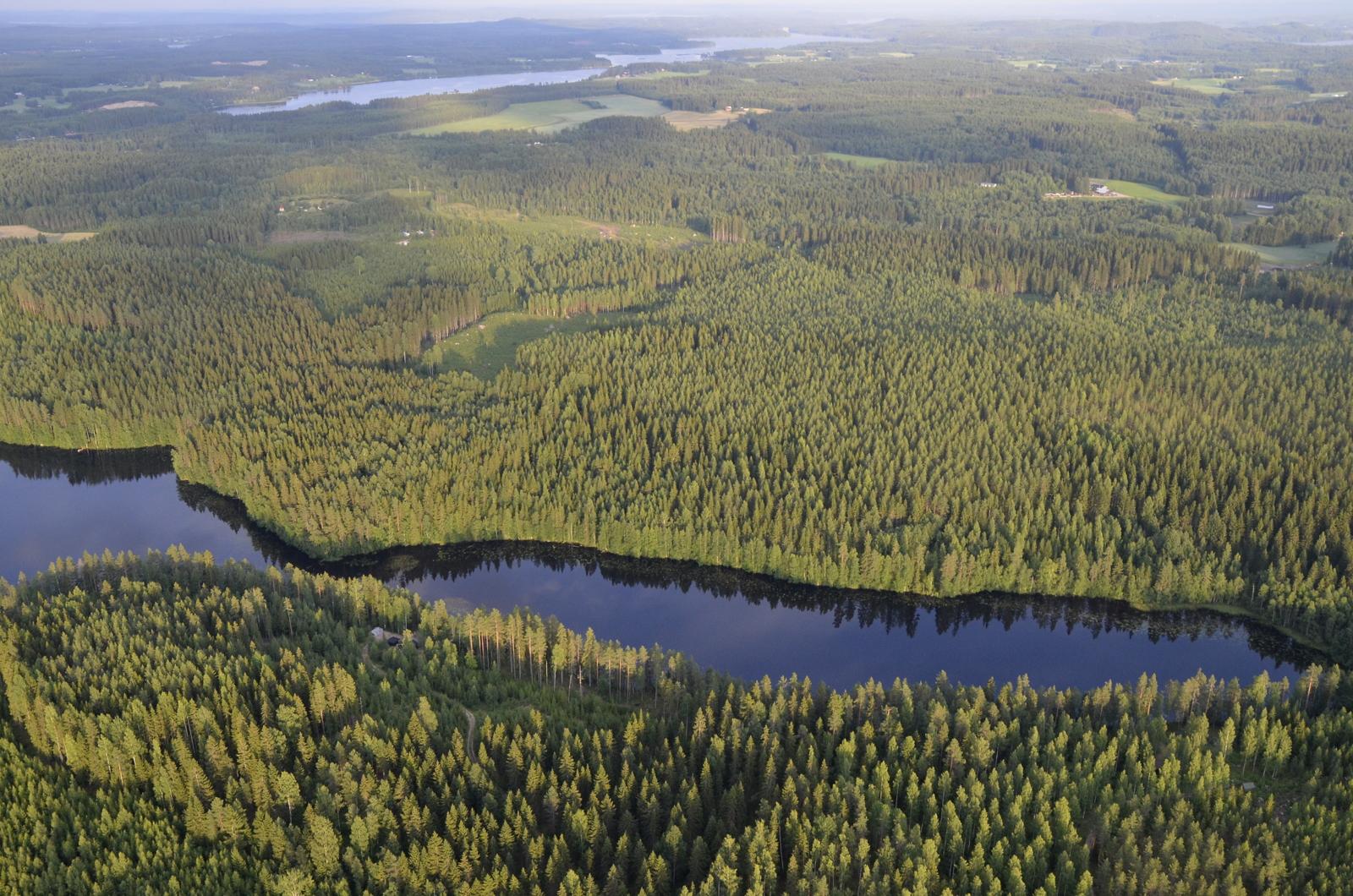Kangaslampi, taustalla Vatiajärvi ja Kuusaa.