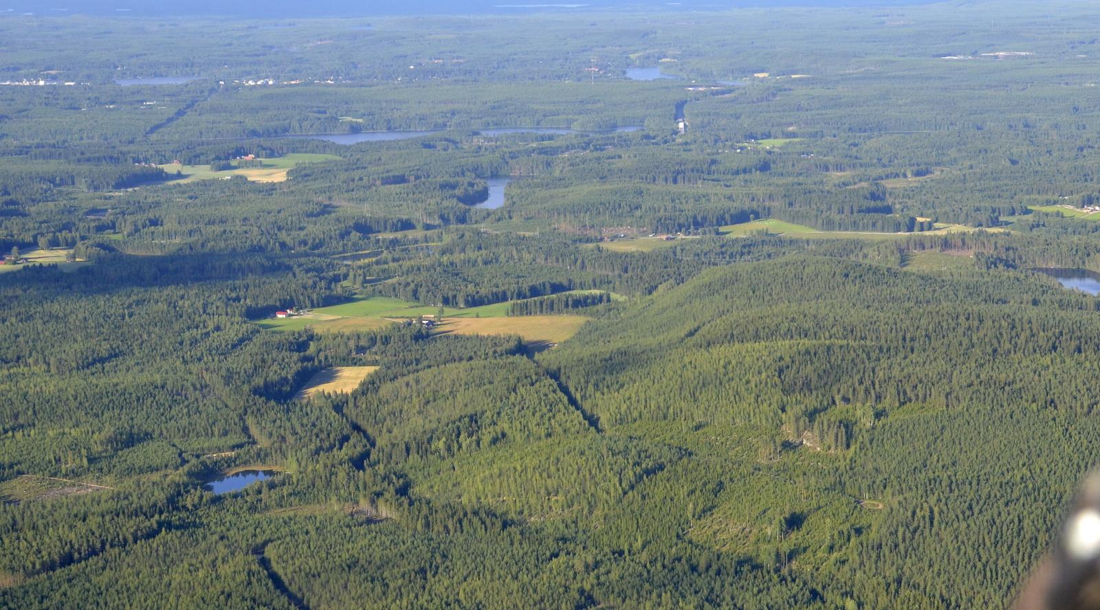 Oikealla Telkkämäki ja vasemmalla Telkkälaakso jonne suunta. Taustalla Suolahden taajaman taloja.