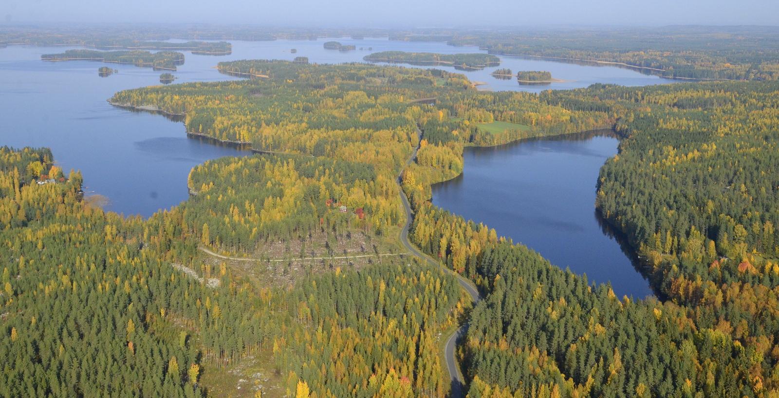 Kotilampi oikealla. Keskellä kuvaa Hintikanniemi.