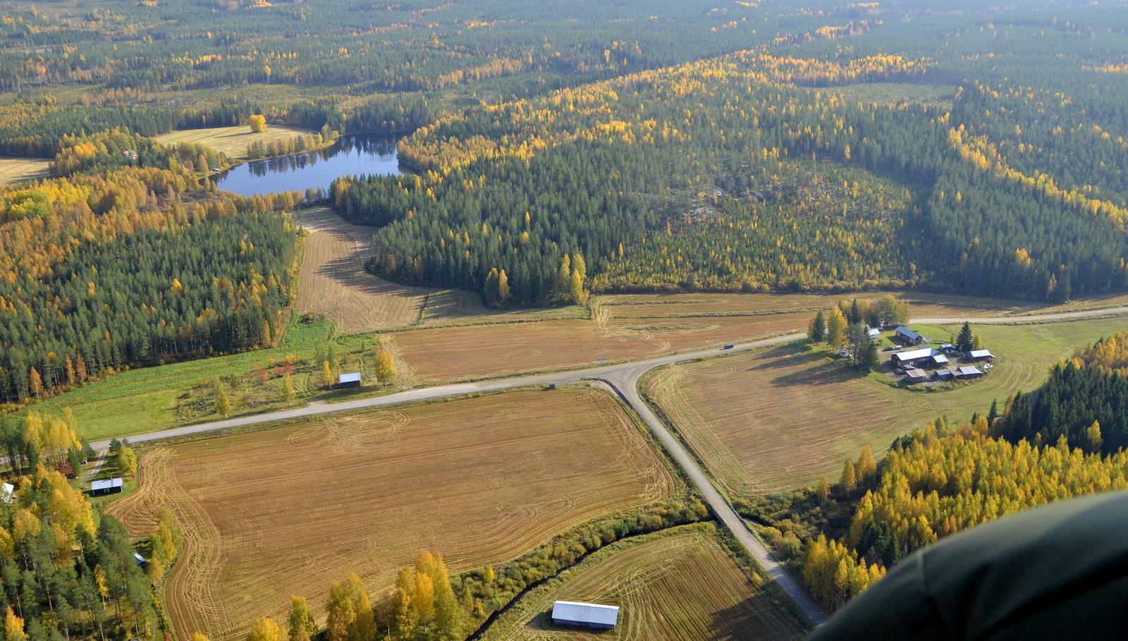 Mäkipelto ja Niittylä Ruuhilammen ja mahdollisen tuulipuiston kupeella, joka olisi tuolla kuvassa taustalla.