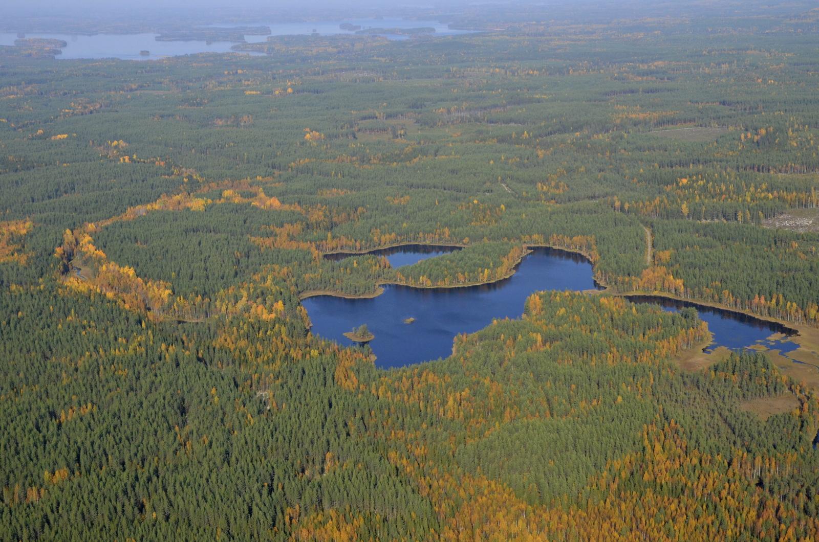 Koukkujärvi Lakomäen kupeella. Osin Kannonkosken alueella. Taustalla Vuosjärvi ja vuorilahti.