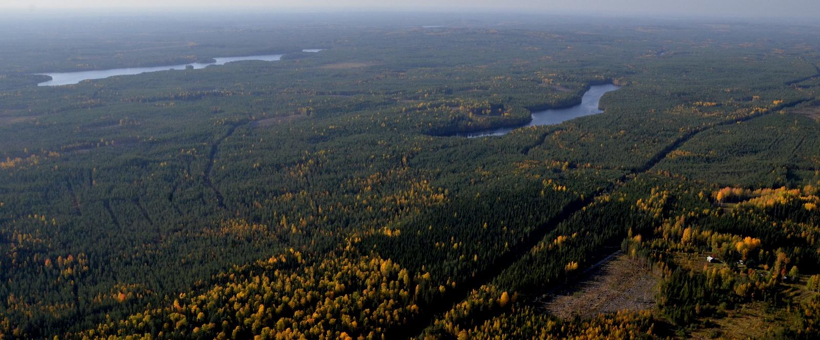 Vasemmalla Kohmujärvi, oikealla Pitkänen. Tien oikealla puolella Muroahon asutusta.