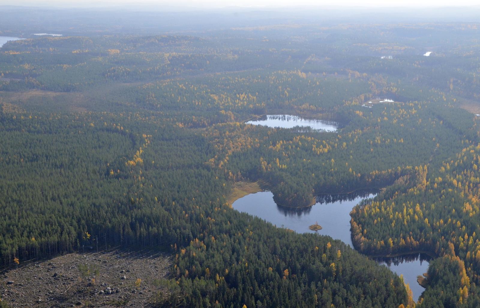 Pohjoislampi ja Kalalampi. Vasemmalla Liimattalan Kangasjärvi.