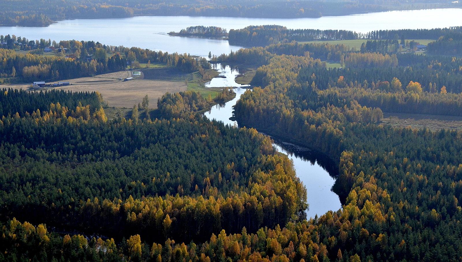 Hilmojoki Pudasjärven suuntaan nähtynä.