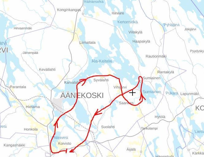 Äänekosken alueella tapahtuneen lennon reitti 18.10.2020