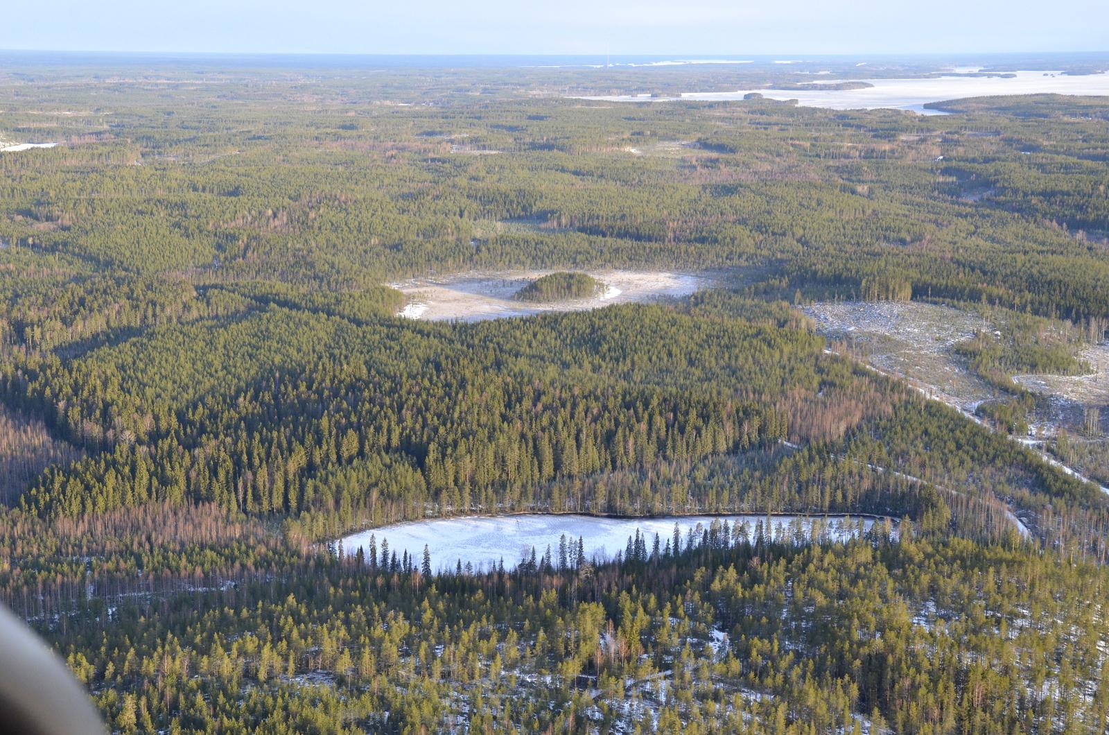 Täälläkin Pienijärvi. Pätkän kauempana Saarisuo ja saari, taustalla Kolimaa Pihtiputaan puolella.